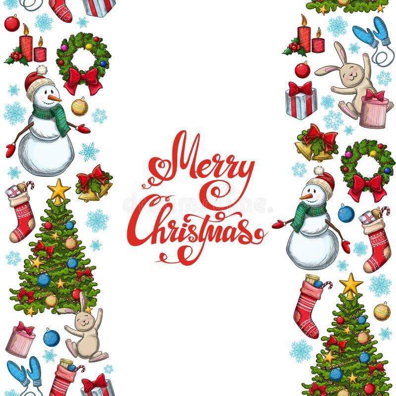 Beiras sem emenda verticais com ícones do Natal ilustração royalty free