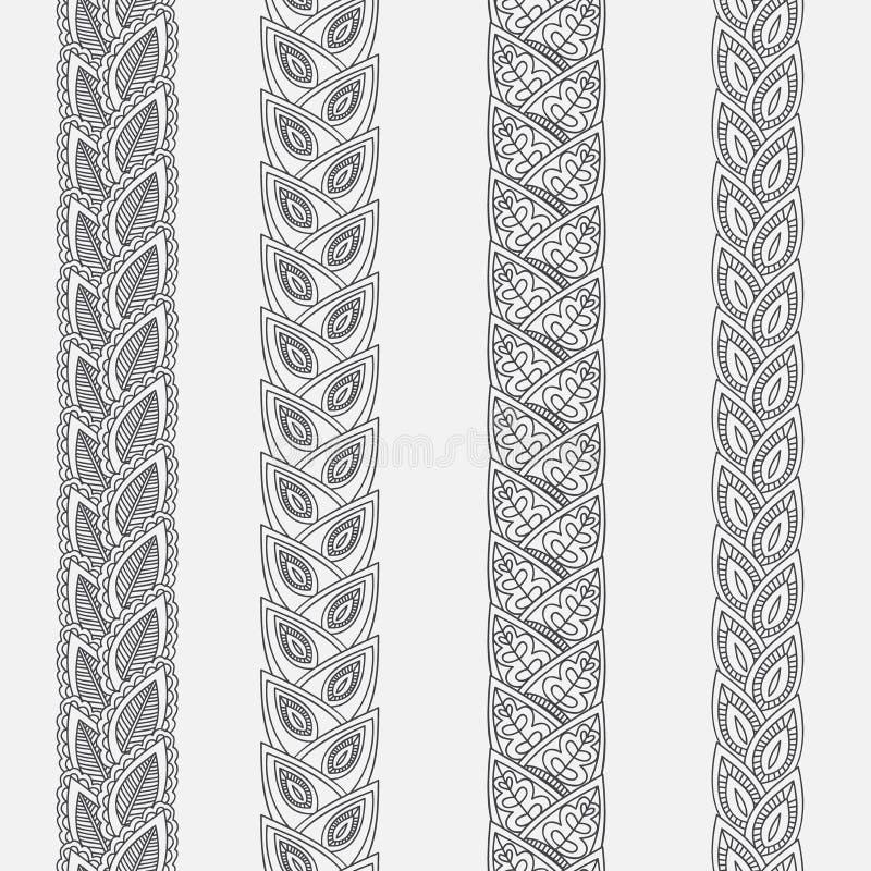 Beiras tiradas mão da garatuja da tatuagem do mehndi da hena, elemento do projeto para convites da decoração e cartões, linha flo ilustração royalty free
