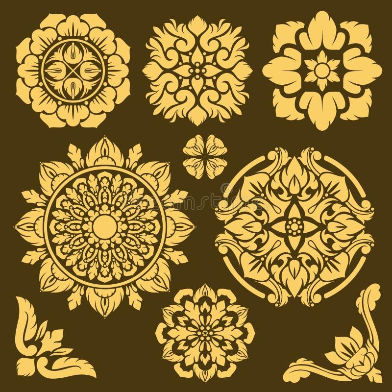 Beiras tradicionais tailandesas do ornamento e do quadro do vetor ajustadas ilustração do vetor