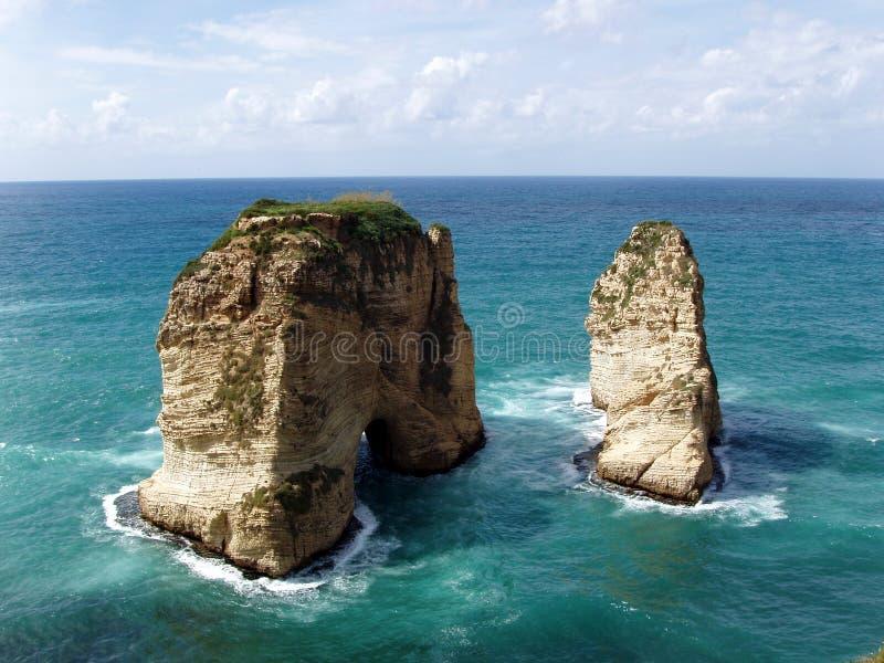 Beiroet - de rotsen van de Duif royalty-vrije stock afbeelding