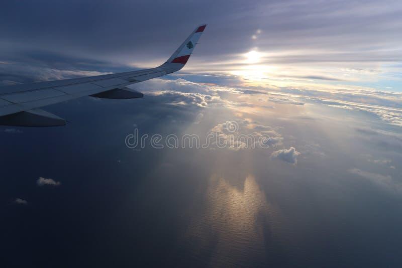 Beiroet, Libanon, 24 Januari 2018: Vleugel van een Middle East Airlines-Luchtbusvliegtuig royalty-vrije stock foto's