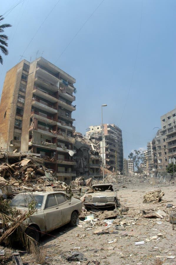 Beiroet onder het Bombarderen royalty-vrije stock afbeeldingen