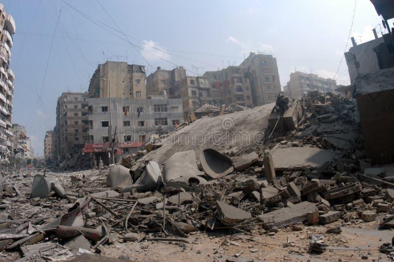 Beiroet onder het Bombarderen stock fotografie