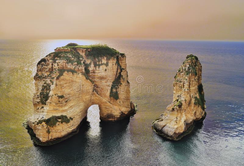 Beirut, capital of Lebanon. The Pigeon rock iconic site  of Beirut. Lebanon, is a geological inlier witch testifies of the erosion of the limestone cliff on royalty free stock photography