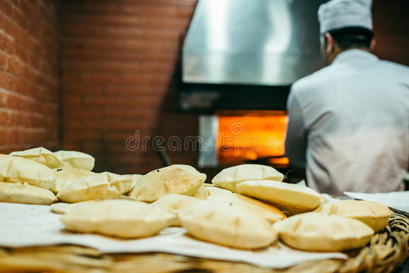 Beirut, Lebanon. Bread making at a restaurant in Beirut - Lebanon royalty free stock images
