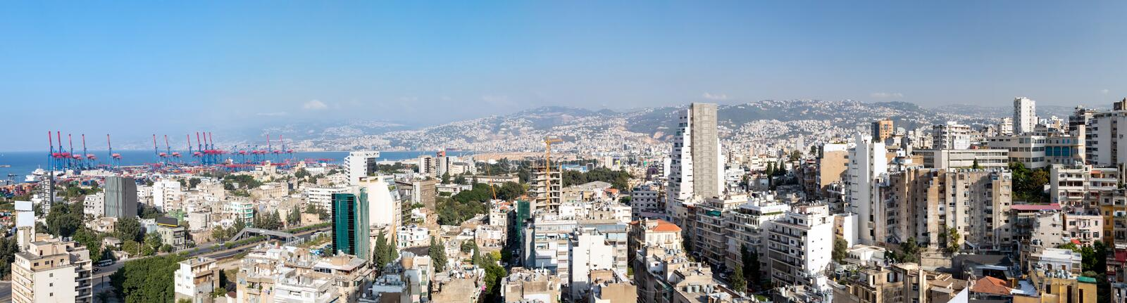 Beirut, Lebanon - Panoramic view of the historic city skyline royalty free stock photo