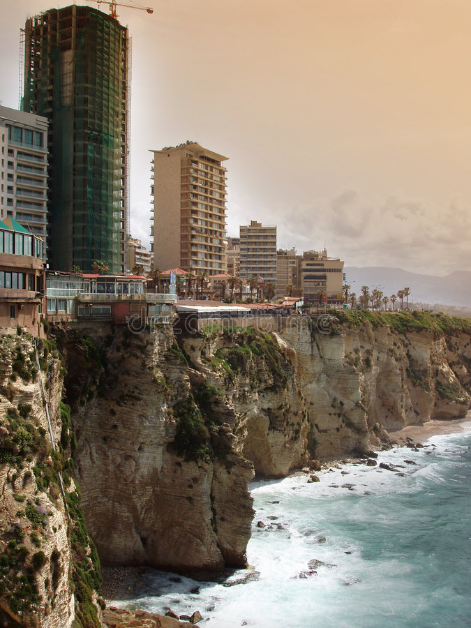 beirut lebanon shoreline arkivfoto