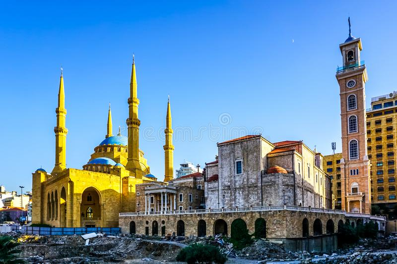 Beirut Saint Georges Maronite Cathedral 01. Beirut Saint Georges Maronite Cathedral and Mohammad Al Amin Mosque stock images