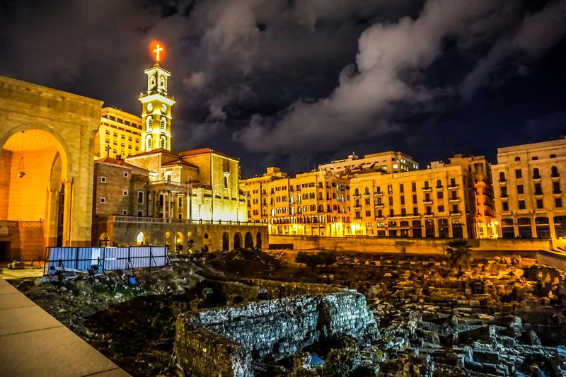Beirut Saint Georges Maronite Cathedral 02. Beirut Saint Georges Maronite Cathedral at Night with Roman Forum Ruins stock photos