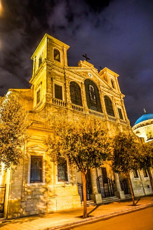 Beirut Saint Georges Maronite Cathedral 03. Beirut Saint Georges Maronite Cathedral Illuminated at Awesome Appealing Night stock images