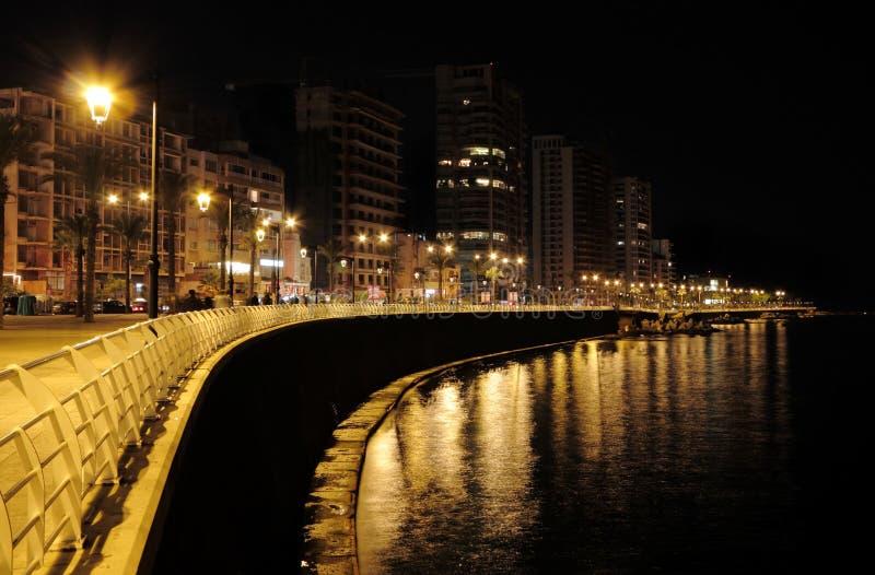 Beirute na noite (Líbano) imagem de stock
