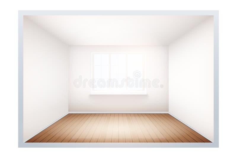 Beispiel des leeren Raumes mit Fenster lizenzfreie abbildung