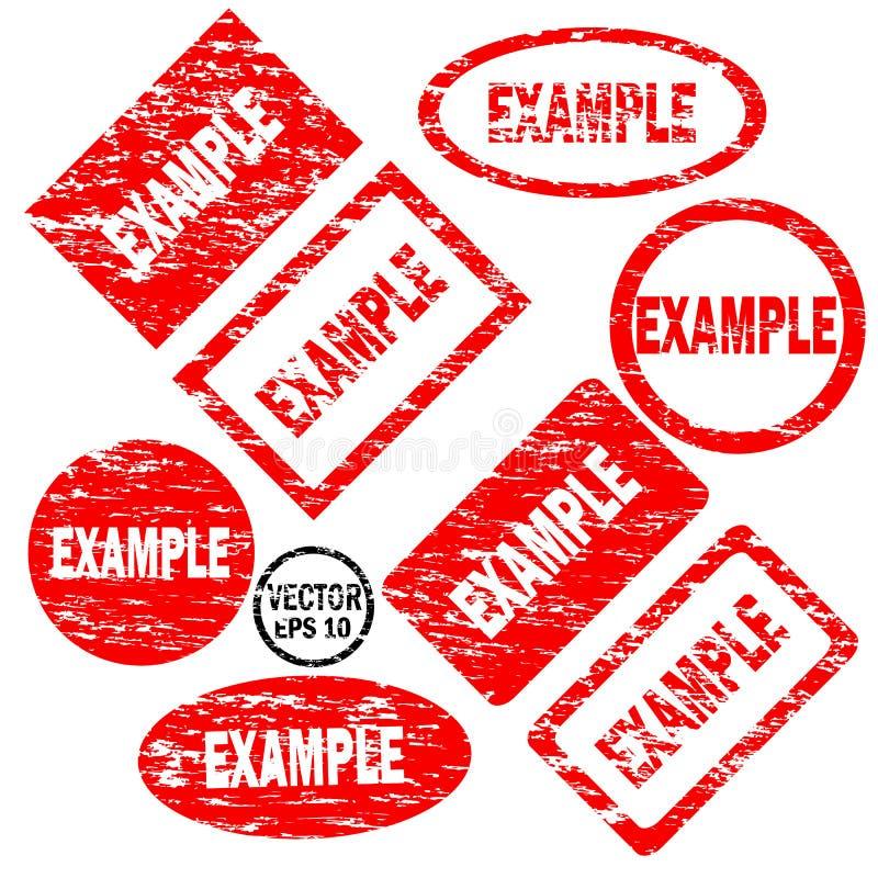 Beispielsatz von Rotem um und von quadratischen Stempeln stock abbildung