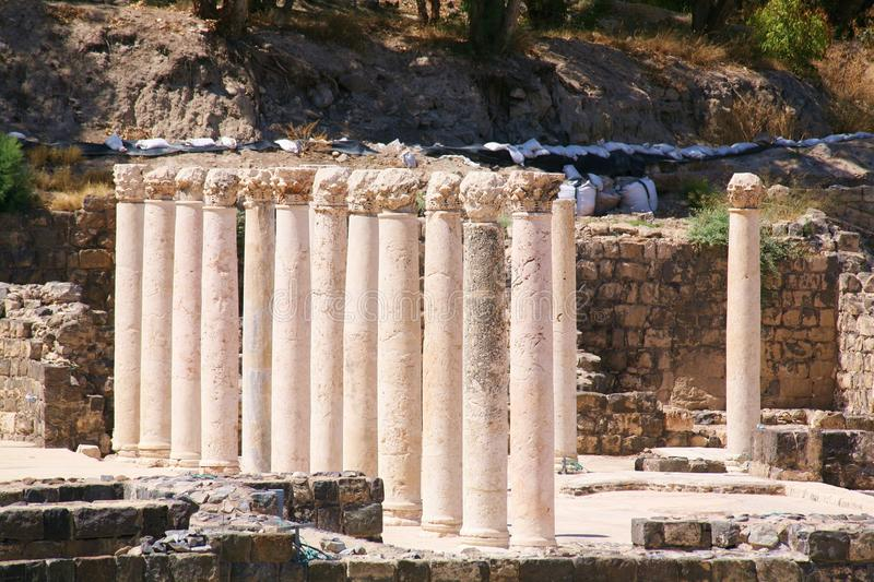 Beit She'an Collumns in a Row stock images