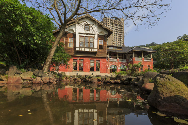 Beitou Hot Spring Museum. With great reflection at Taipei, Taiwan stock image