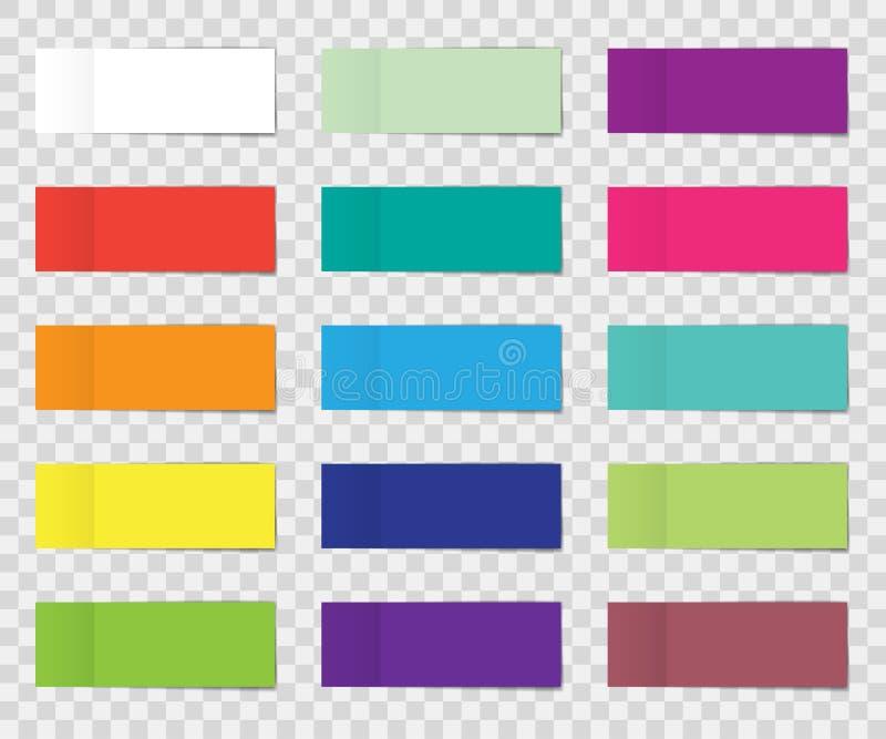 Beitragsanmerkungs-Aufklebersatz lokalisiert auf transparentem Hintergrund Papierklebeband mit Schatten Vektorbürofarbbeitrags-An lizenzfreie abbildung