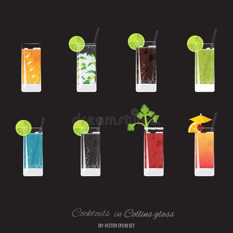 Beiwagencocktail, Mojito, Kuba-libre, grünes lemonader, Königsblau, das Soda, blutig heiraten, Tequila-Sonnenaufgangcocktailsatz lizenzfreie abbildung