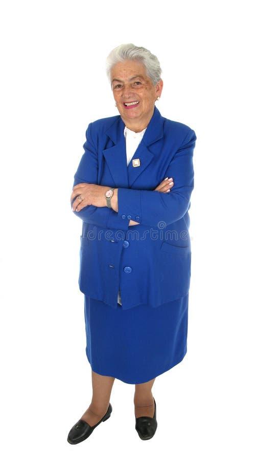 Bejaard gelukkig geïsoleerd vrouwen volledig lichaam royalty-vrije stock afbeelding