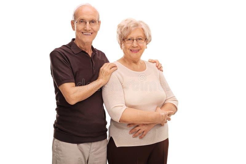 Bejaard paar die samen stellen royalty-vrije stock foto's