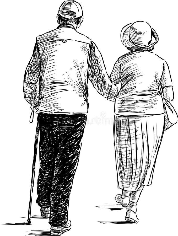 Bejaard paar op een gang stock illustratie