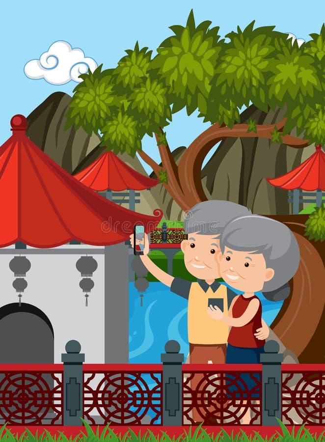 Bejaard Paarbezoek China stock illustratie