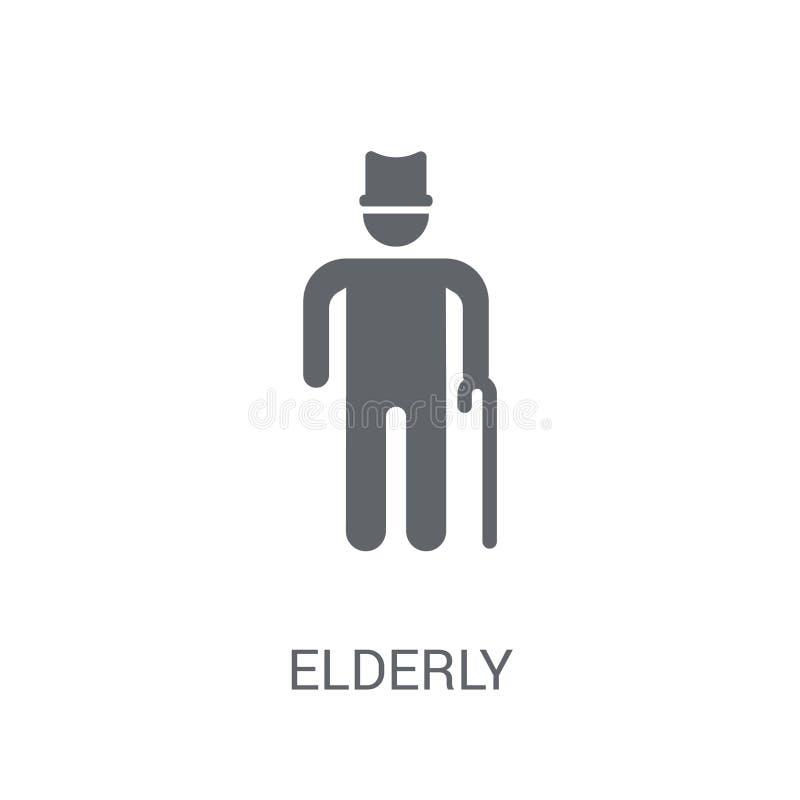Bejaard pictogram In Bejaard embleemconcept op witte achtergrond Fr royalty-vrije illustratie
