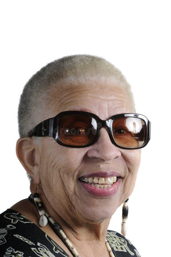 Bejaarde Afrikaanse Amerikaanse Vrouw stock foto's