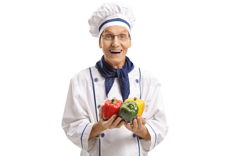 Bejaarde chef-kok met peper stock foto