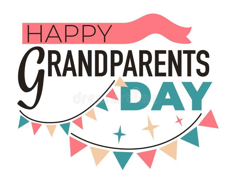 Bejaarde de familieledeneerbied en appreciatie van het grootoudersdag geïsoleerde pictogram royalty-vrije illustratie