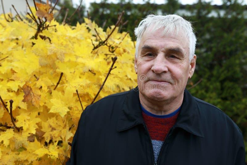 Bejaarde in de herfstpark royalty-vrije stock afbeeldingen