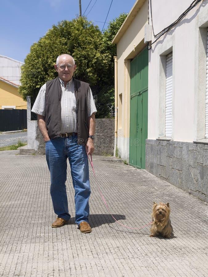 Bejaarde die een hond loopt royalty-vrije stock fotografie