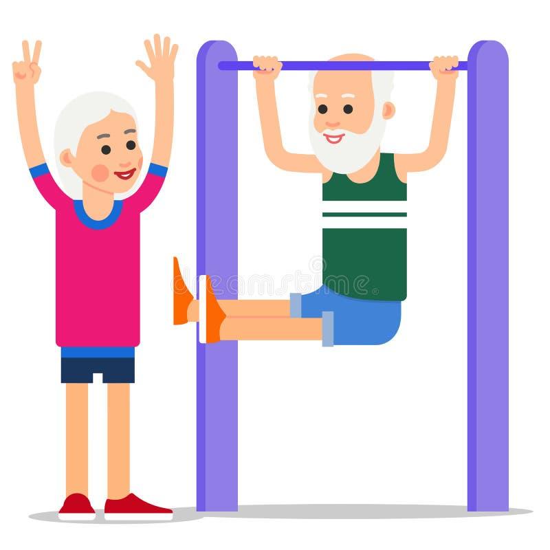 Bejaarde die trekkracht UPS maken Één het hogere doen trekkracht-UPS, vrouw st royalty-vrije illustratie