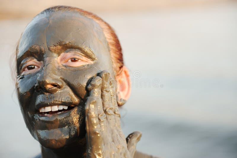 Bejaarde in een badpak stock foto