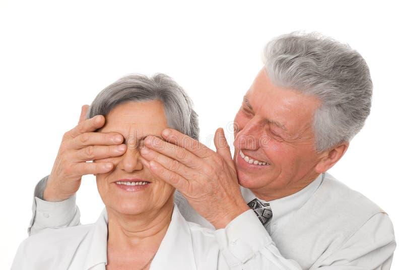 Bejaarde en vrouw stock afbeelding