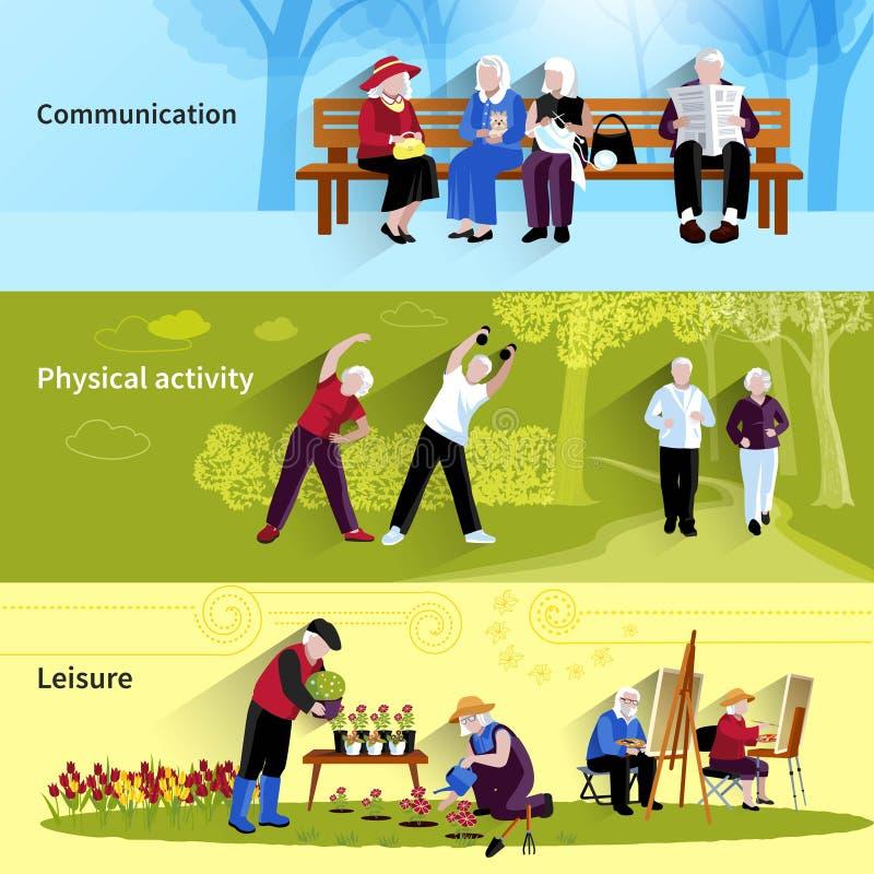 Bejaarde Geplaatste Mensenbanners vector illustratie