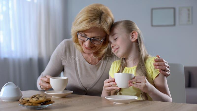 Bejaarde grootmoeder en kleindochter het drinken thee en gelukkig het glimlachen, familie royalty-vrije stock foto