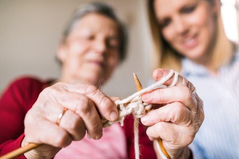 Bejaarde grootmoeder en volwassen kleindochter thuis, het breien royalty-vrije stock afbeeldingen