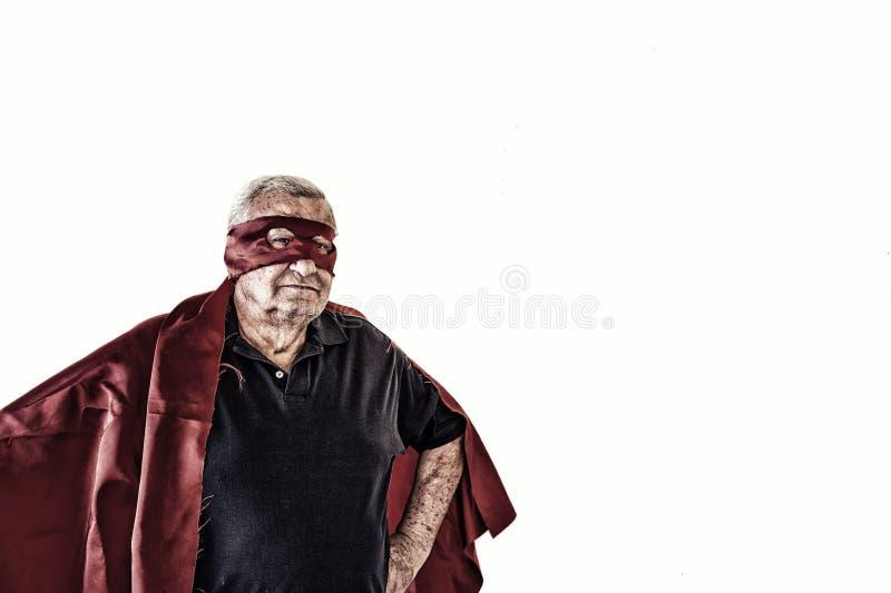 Bejaarde het spelen superhero stock foto's