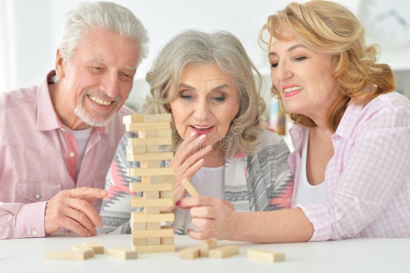 Bejaarde mensen die een raadsspel spelen stock afbeeldingen
