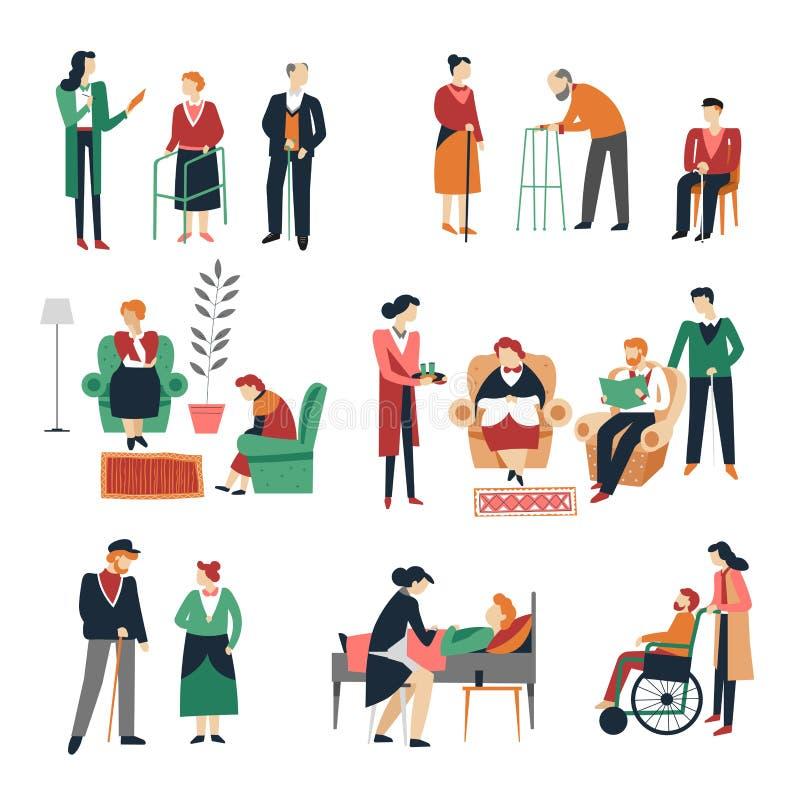 Bejaarde mensen geïsoleerde oude pictogrammen en gehandicapte mannen en vrouwen vector illustratie