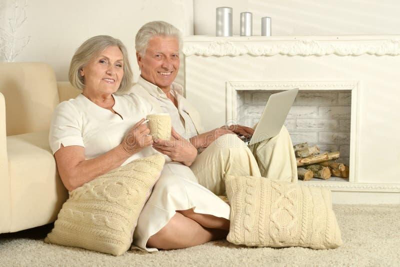 Bejaarde mensen met thee en laptop royalty-vrije stock foto's