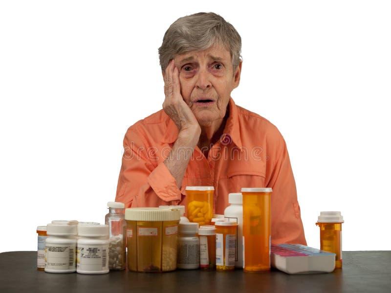 Bejaarde met medicijnen royalty-vrije stock fotografie