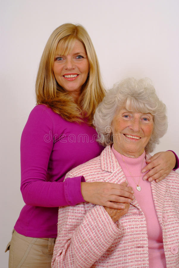 Bejaarde Moeder en Dochter royalty-vrije stock afbeeldingen