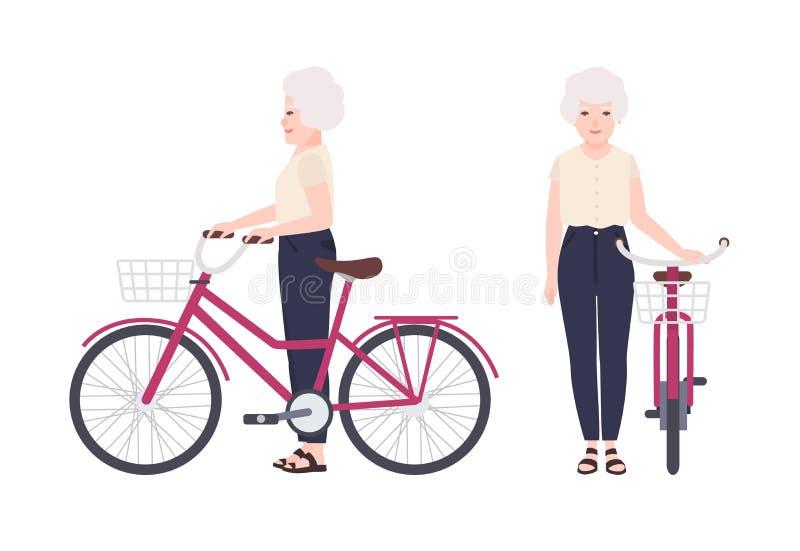 Bejaarde of oma die zich naast fiets met mand bevinden Vlakke vrouwelijke de holdingsfiets van het beeldverhaalkarakter Oude gelu stock illustratie
