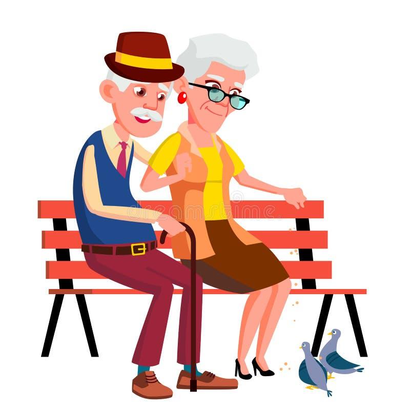 Bejaarde Paarzitting op Bank in de Zomer, Autumn Park Vector Geïsoleerdeo illustratie vector illustratie