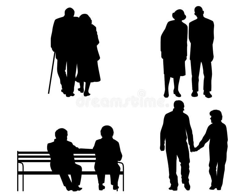 Bejaarde parensilhouetten royalty-vrije illustratie