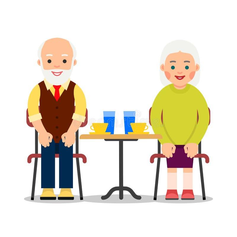 Bejaarde peole zit bij een een lijst en het drinken koffie en water Oud paar die van tijd samen genieten Illustratie van mensen vector illustratie