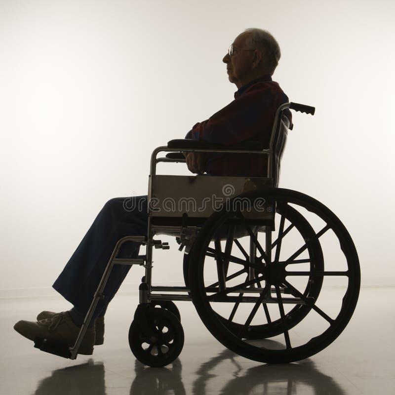 Bejaarde in rolstoel.