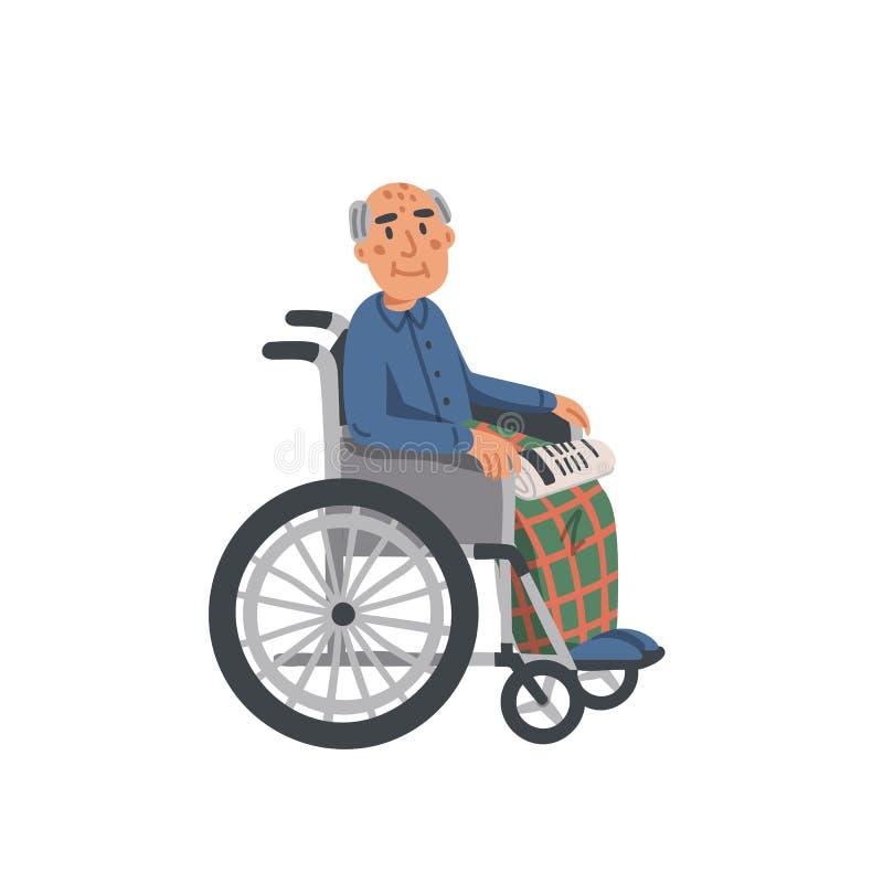 Bejaarde in rolstoel Oude mensengrootvader gehandicapt die in rolstoel op witte achtergrond wordt geïsoleerd Verpleeghuis oudste stock illustratie