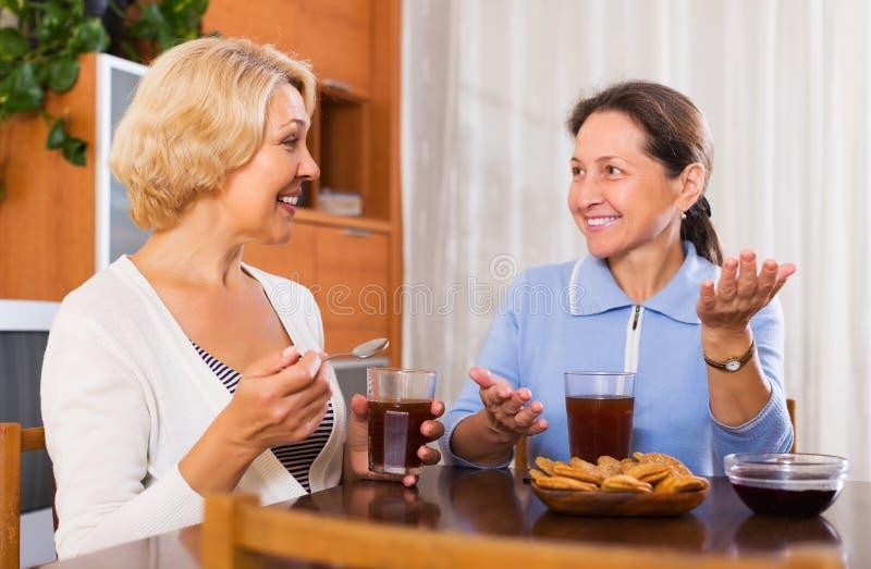 Bejaarde vrouwelijk hebbend koffiepauze royalty-vrije stock foto's